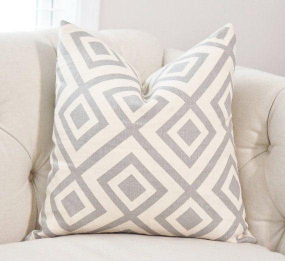 David Hicks La Fiorentina Groundworks Light Grey - Zig Zag Geometric Pillow - Ivory Pink Gray Pillow Cover - Nuetral Pillow - Throw Pillow