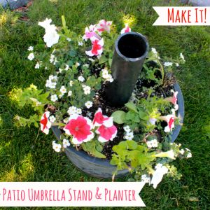 DIY patio umbrella stand & planter. Finally an umbrella stand that won't blow over in the wind!
