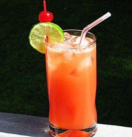 Reef Cup ~ 1 oz. Vodka, 1 oz. Rum, 1 oz. Triple Sec, 2 oz. Orange Juice, 2 oz. Pineapple Juice, 2 oz. Sprite, .5 oz Grenadine, Lime Wheel and/or Cherry to garnish.