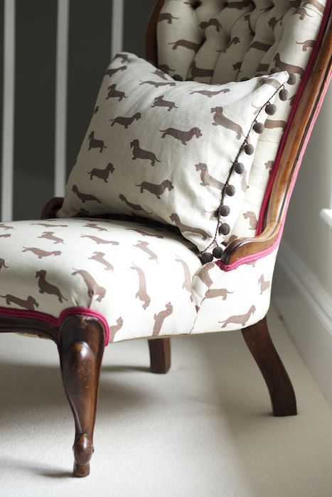 Emily Bond Wire Haired Dachshund fabric and pom pom cushion http://www.emilybond.co.uk/store/wire-haired-dachshund-pom-pom-cushion/