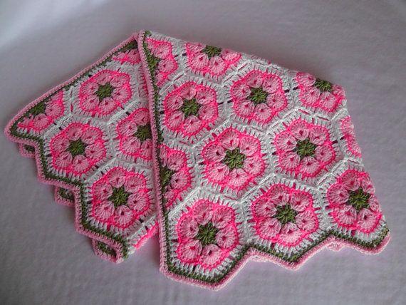 African Flower Crochet Baby Blanket Pattern : Baby Girl/Toddler/Child Crochet Blanket, African Flower ...