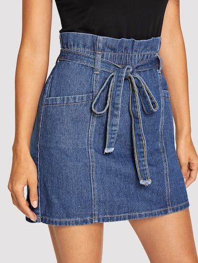 Paperbag Waist Denim Skirt With Belt
