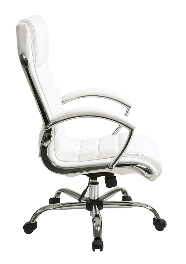 Inspired By Bassett Ellis Chrome Executive Chair In White Product No Bp