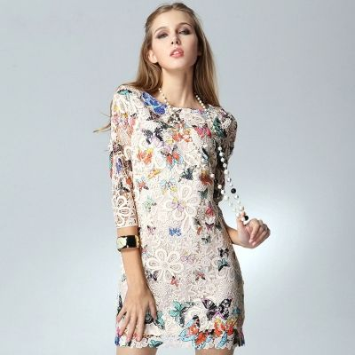Hand Embroidery Butterfly Printed Polyester Dress [FXBI00114]- US$ 126.99 - PersunMall.com