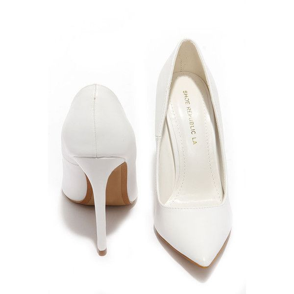 Click Your Heels White Pointed Pumps ($34) ❤ liked on Polyvore featuring shoes, pumps, pointy pumps, stiletto pumps, high heel pumps, high heels stilettos and pointed toe shoes