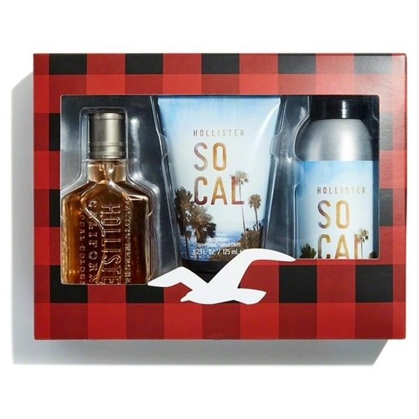 Hollister So Cal Gift Set (950 MXN) ❤ liked on Polyvore featuring men's fashion, men's grooming, men's gift sets & kits, gift set and eau de cologne