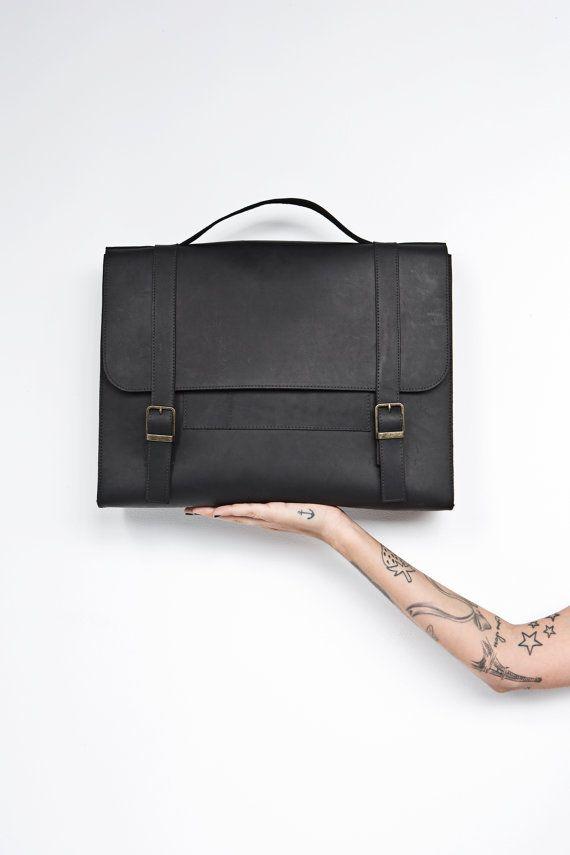 Men's satchel bag. black leather bag for men by EMILISTUDIO