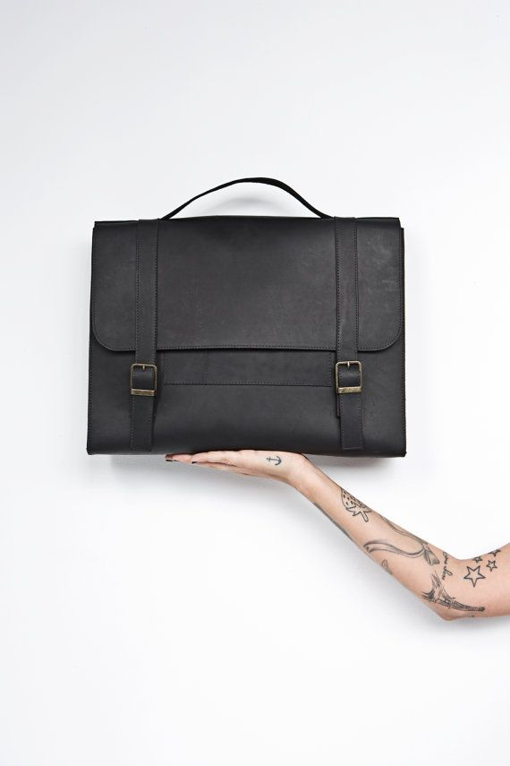 Men's satchel bag. black leather bag for men by EMILISTUDIO