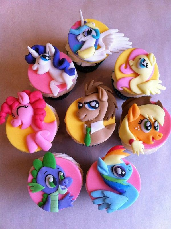 My Little Pony Cupcake Toppers - just pictures (no directions) of several Retro Cartoon toppers.