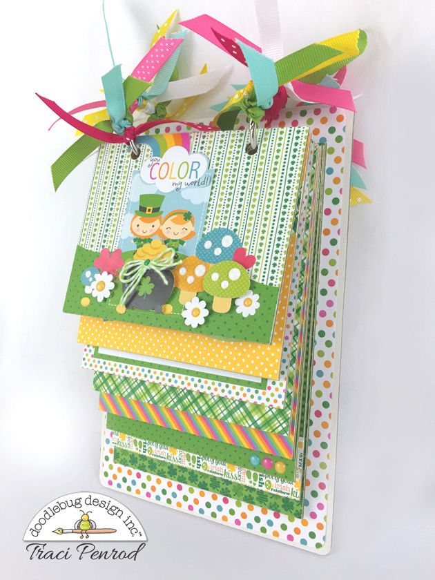 Doodlebug Design Inc Blog: Pot O Gold Collection: You Color My World Mini Album by Traci