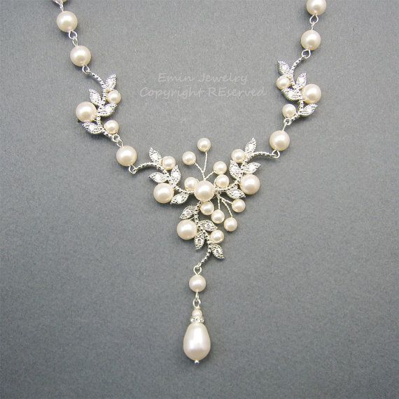 Bridal Pearl Necklace Wedding necklace Rhinestone by eminjewelry, $75.00