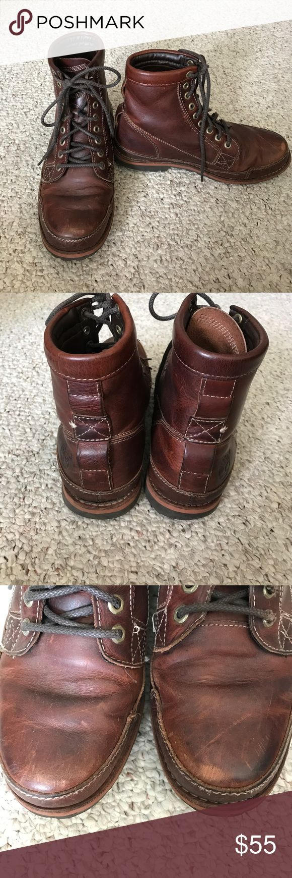 Men's Timberlands Boots, size 8.5 Men's Timberlands Boots, size 8.5. Only a few scuffs but it adds to the character of the boot. Timberland Shoes Boots