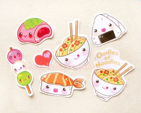 Japanese Food Stickers. Ramen Noodle. Mochi. by BeagleCakesArt