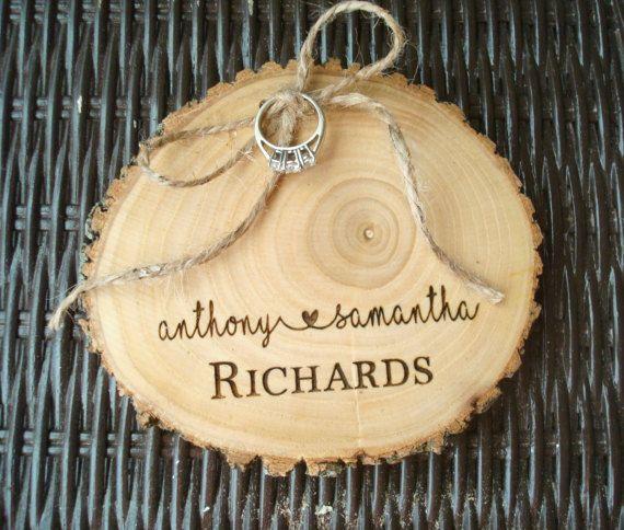 Engraved Ring Bearer Wood Slice Ring Holder