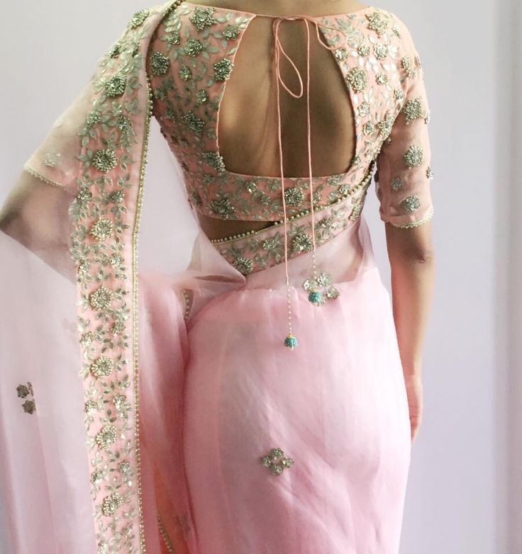 Interesting details on #Pink #Saree and open back Blouse