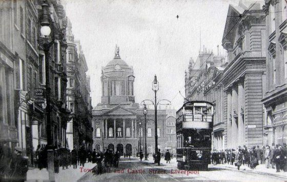 Liverpool town hall and castle street 1900