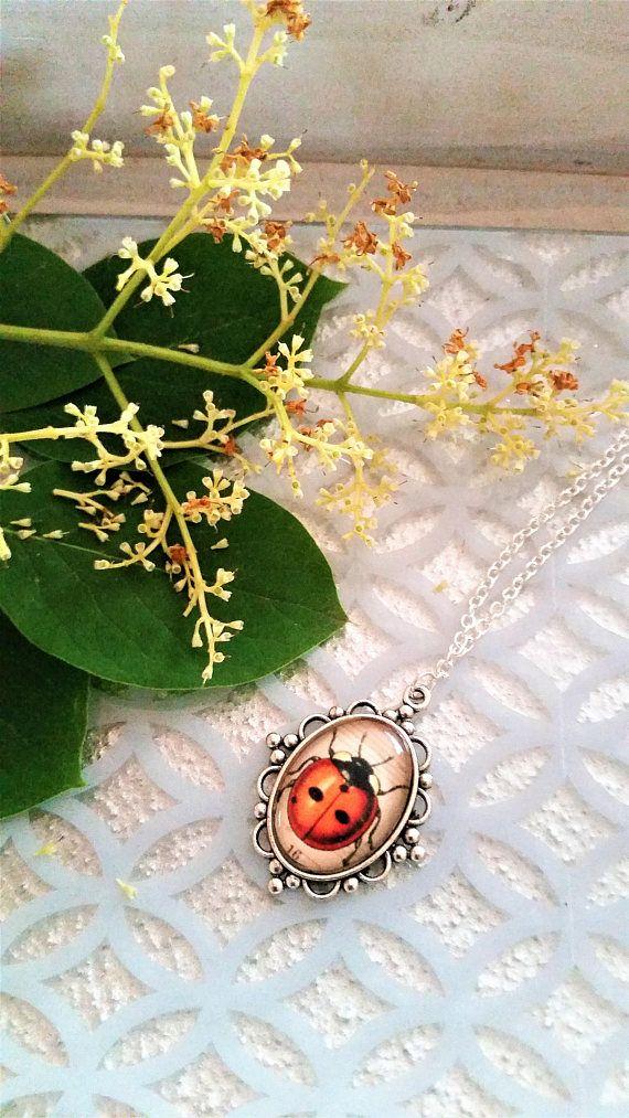 Ladybug pendant necklace  ladybug jewelry  ornate glass