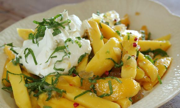 Approved mango salad with mint labne | Maggie Beer