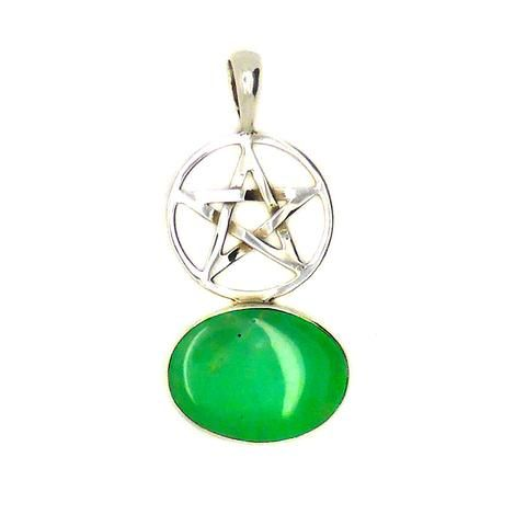 Chrysoprase and Pentacle Pendant | 925 Sterling Silver Stone 1Nature Healing Stone & Symbol | Libra Star Stone | Crystal Heart Melbourne since 1986