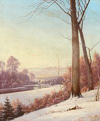 105/162 - Alexander Schmidt: Vinterlandskab med skov, åløb og lille hus. Sign. A. Schmidt 1894. 79 x 66.