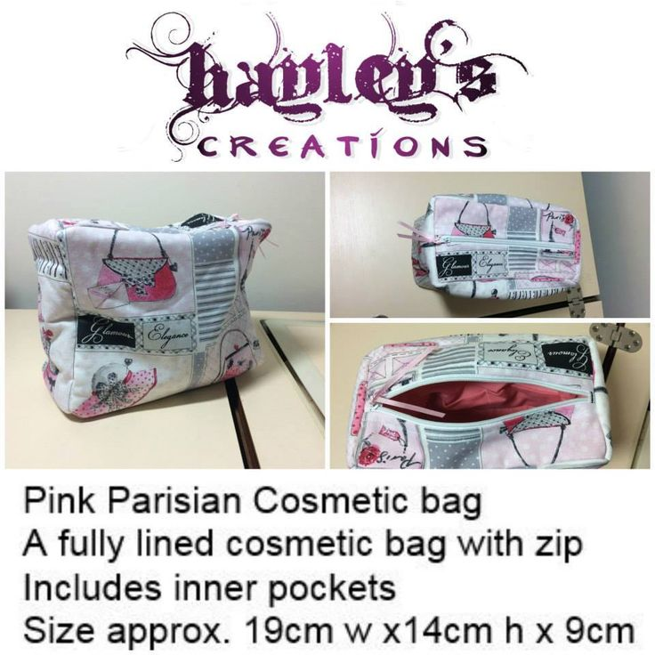 Handmade by @Hayley's Creations  Pink Parisian Cosmetic bag A fully lined cosmetic bag with zip Includes inner pockets Size approx. 19cm w x14cm h x 9cm  For more information please visit https://www.facebook.com/media/set/?set=a.1019835318060895.1073742003.612048788839552&type=3&hc_location=ufi