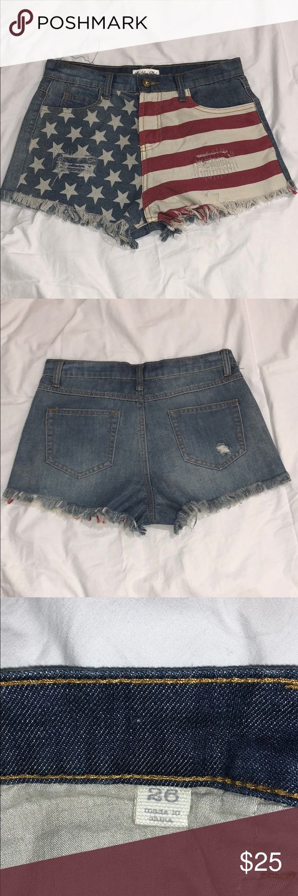 Others Follow American Flag Jean Shorts Perfect for the Forth of July or just to wear on any other weekend. Cut off Daisy Duke jean shorts. BNWOT Others Follow Shorts Jean Shorts