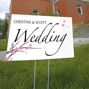 Help guests find their way. Use our Cherry Blossom Wedding Direction Sign to mark the route to your Wedding and/or Reception.