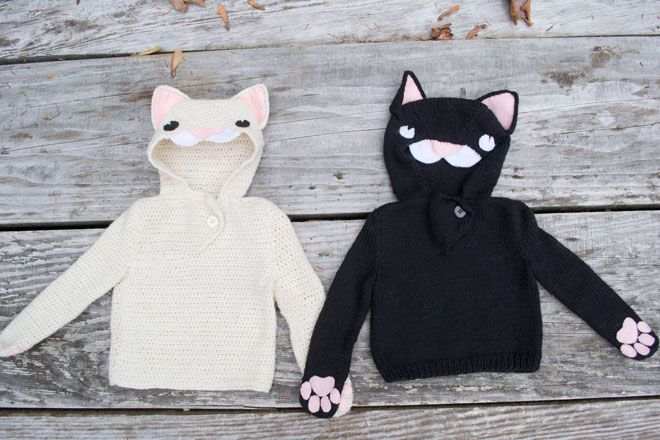 Cat hoodie patterns for knitting and crochet from 100 Baby Sweater Patterns