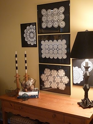 Room RX: Framed Doily Gallery - maybe frame with color behind for a bigger pop.