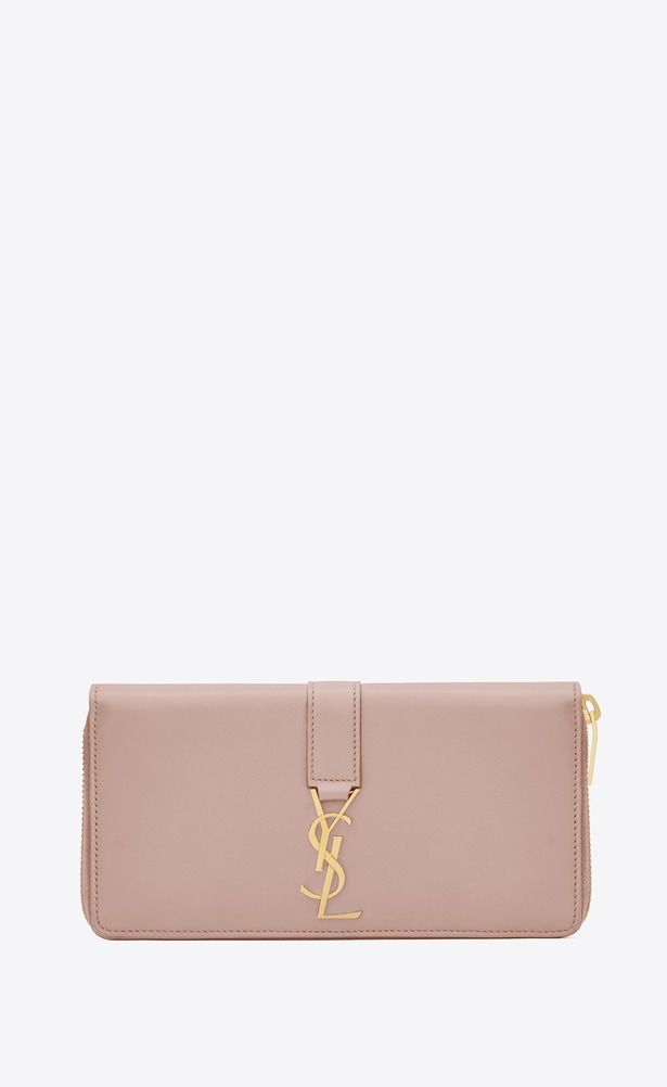 c71a3f1fe9 SAINT LAURENT YSL line Woman Large YSL zipped wallet in powder pink ...