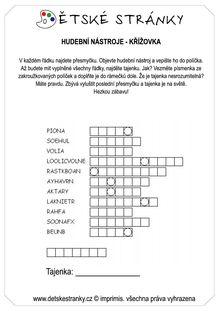 Křížovka - hudební nástroje