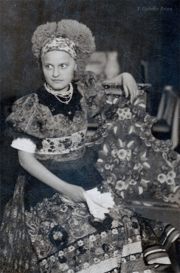 Anna F. Györffy (Hungarian illustrator) in Traditional Mezőkövesd Costume © 1932
