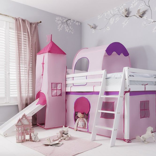 Cabin Bed With Slide Midsleeper Pink With Tent Tunnel Tower In