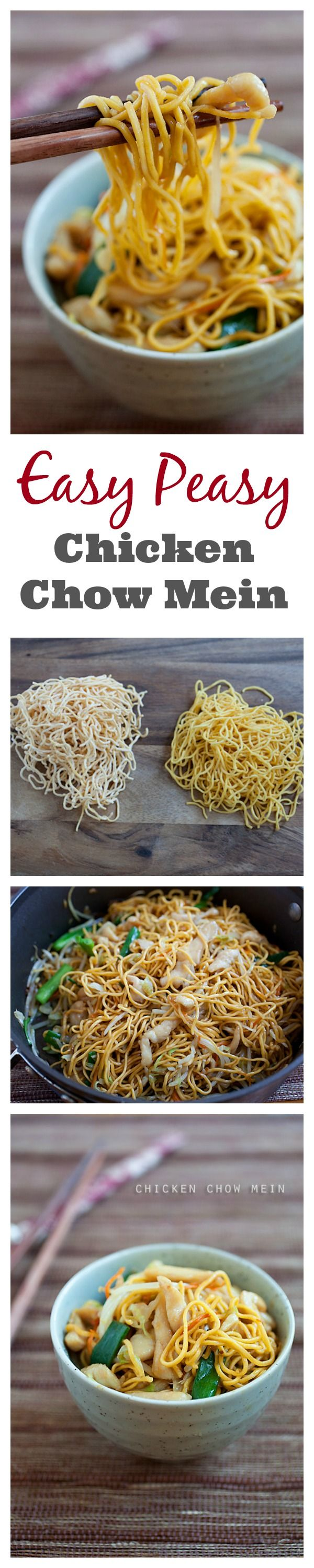 {Hong Kong} Easy and the most delicious Chicken Chow Mein recipe that is MUCH better and healthier than your regular Chinese takeout. Learn how to make it with this recipe | rasamalaysia.com