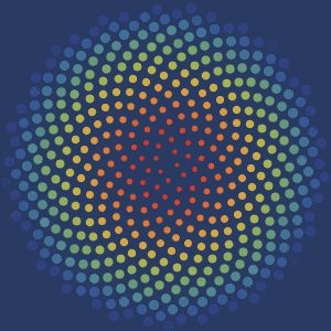 This spiral is rotated by the golden angle every frame. Though it looks like the circles are growing and changing colour, they are actually unchanging and the whole image is just rotating.