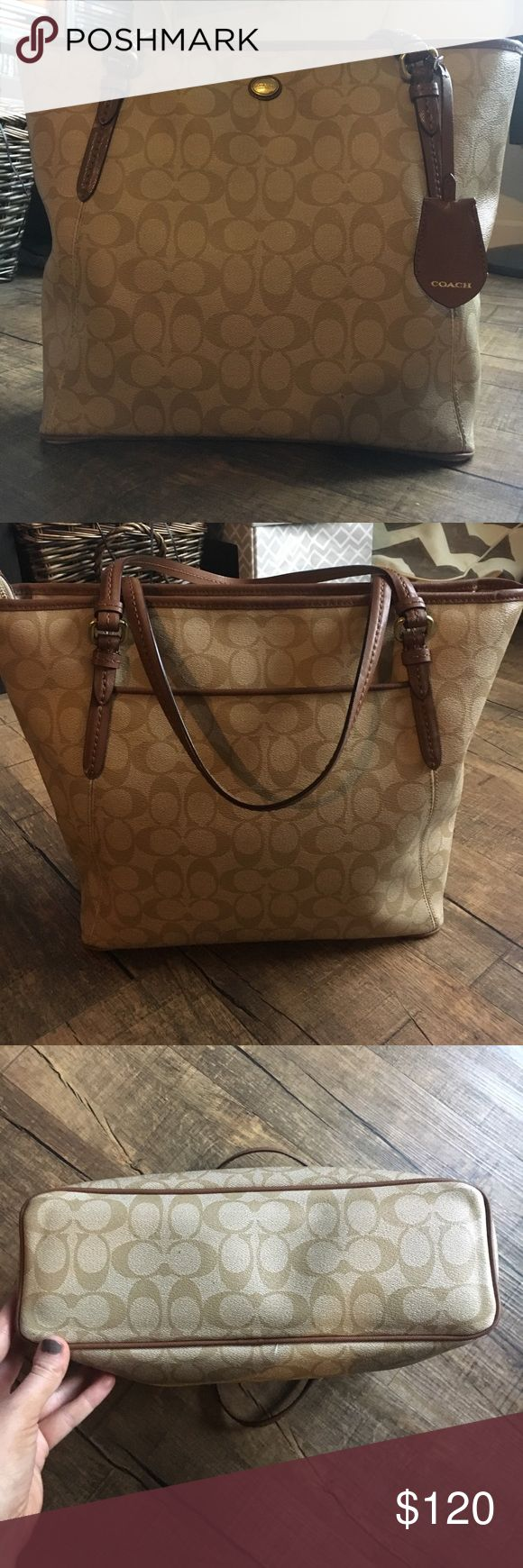Large Coach Tote Bag Large Coach Tote, like brand new. No stains, scratches, or rips. Both zippers work fine. 15x11x4 Coach Bags Totes
