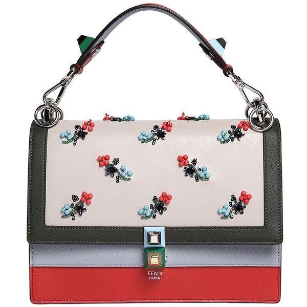 Fendi Women Medium Kan I Embroidered Leather Bag (54.915 ARS) ❤ liked on Polyvore featuring bags, handbags, purses, multicolor, pink leather handbags, genuine leather purse, studded purse, fendi purse and floral leather handbags