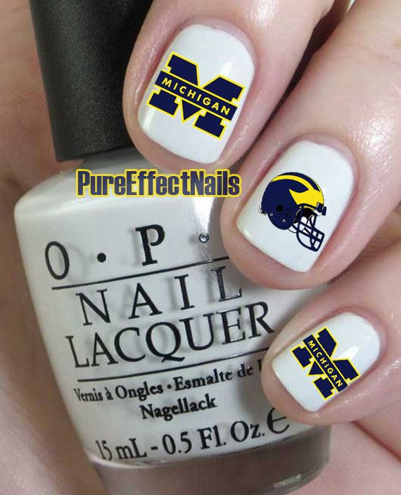 Michigan Wolverines Nail Decals by PureEffectNails on Etsy, $4.00