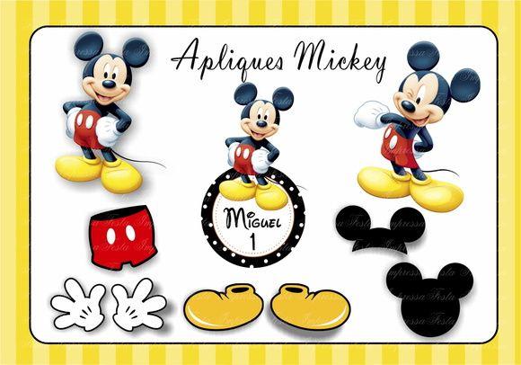 Kit 10 recortes para decoração Mickey