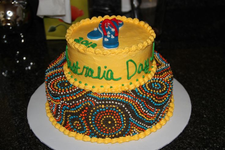 Australia Day  - All icing and decorating is done in Buttercream.  Flip Flops are made with fondant.  Made this for an Australia Day celebration!