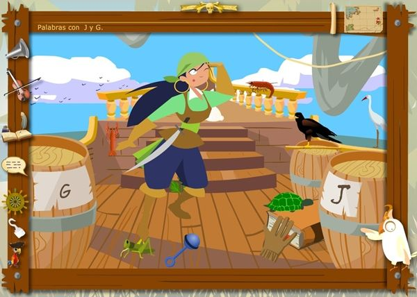 """A esta aplicación yo le llamo """"Los piratas de la Ortografía"""". Es un juego de la Generalitat de Cataluña. Juego sencillo y atractivo visualmente para practicar y valorar el dominio del uso de """"j"""" y """"g"""". Apropiado para 3º y 4º Niveles de Educación Primaria."""