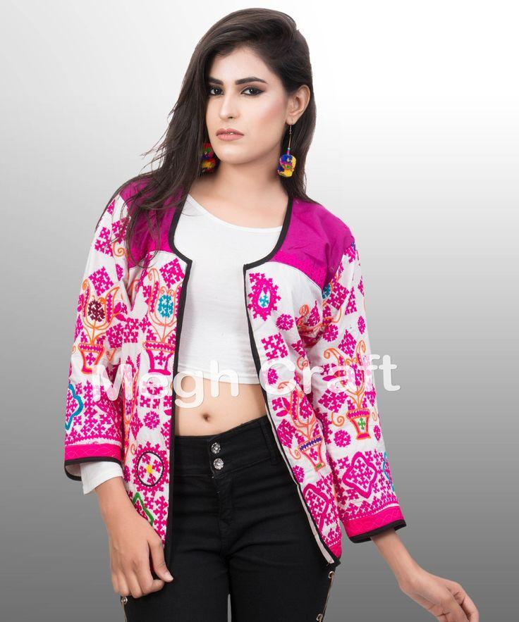 Gujarati Navratri koti-Indian traditional embroidered jacket-ladies shrug jacket 2017 indo western style jacket-party wear indian ethnic shrug-waistcoat-vests wholesale Kutch embroidery short jacket-Indian embroidered navratri special Koti/jacket