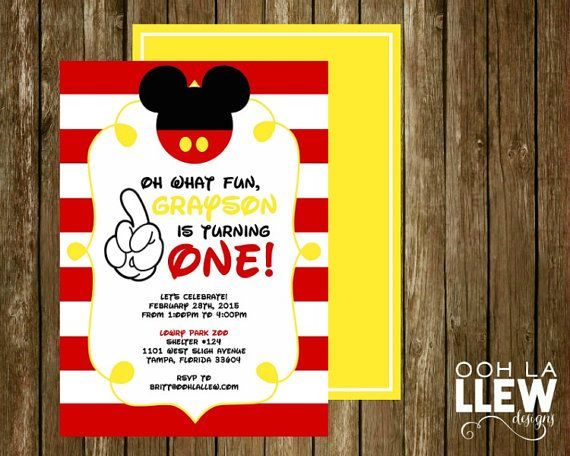 Mickey Mouse First Birthday Party Invitation by OohLaLlew on Etsy