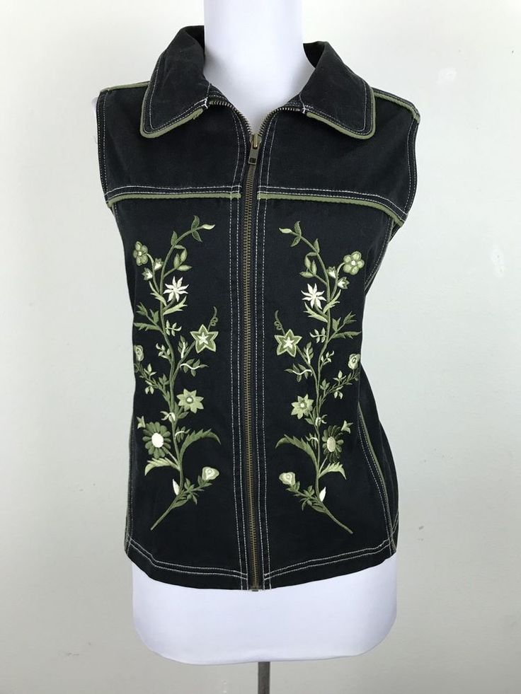 Carole Little Sport Black Denim Vest Size XL Green Floral Embroidery #CaroleLittle #Vest