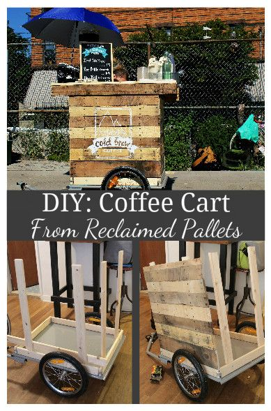 Cute Diy Coffee Cart Made from Reclaimed Pallets in My Tiny N.y.c Appartment  #bike #cart #coffee It all started with the basic Aosom Cargo Bike Trailer ... about  $130 with shipping, rated up to 160lbs.  Taking the frame off was a must, I add...