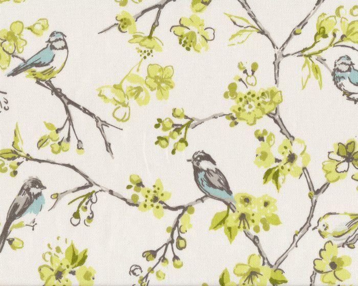 Englischer Dekostoff Clarke & Clarke BIRDIES, Blütenzweige mit Vögeln, gebrochenes weiß-limette