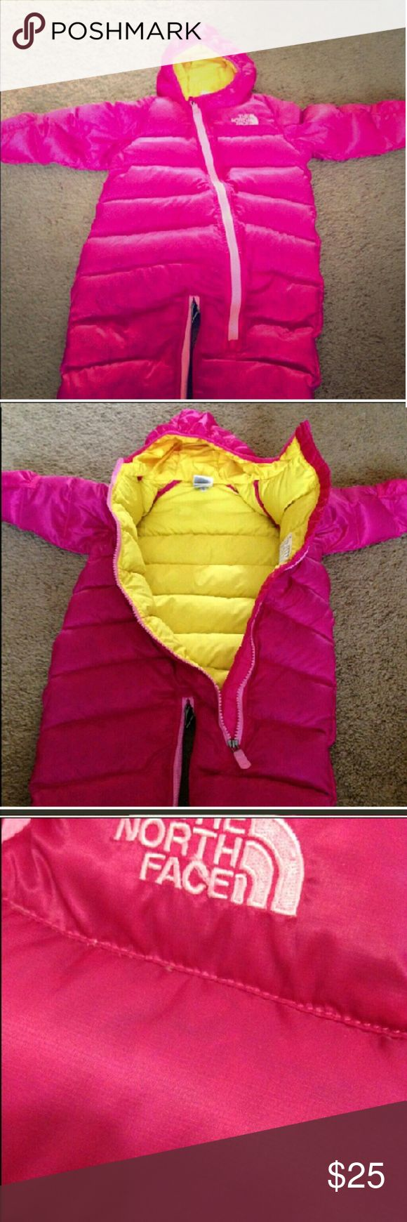 Infant snow suit Pink/yellow. Has some bluish spots in the pink coloring but was purchased this way. In good condition. Size 6-12 mos North Face Jackets & Coats