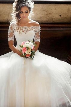 Illusion Off-the-shoulder Princess Wedding Dress with Sleeves – Jessica Albamonte – #Albamonte #Dress #Illusion #Jessica #Offtheshoulder #Princess #Sleeves #Wedding
