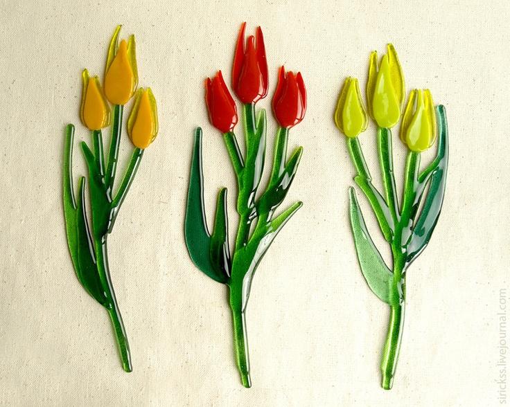 tulips in glass....beautiful