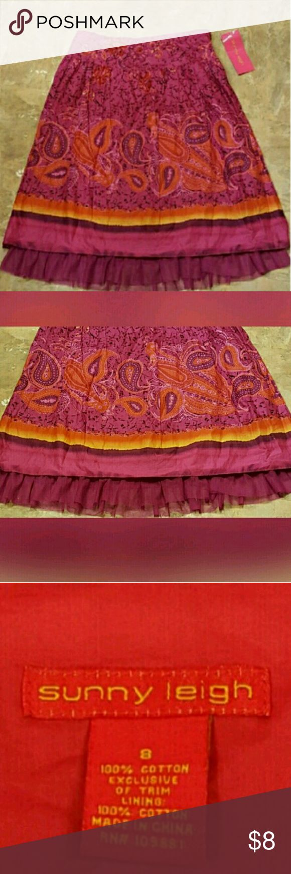 Sunny Leigh skirt Sunny Leigh skirt size 8 the color of pink and orange blend with 100 percent cotton. No stains no tears anywhere. Please feel free to ask any questions you may have before purchasing. And thank you for shopping my closet! Sunny Leigh  Skirts Midi